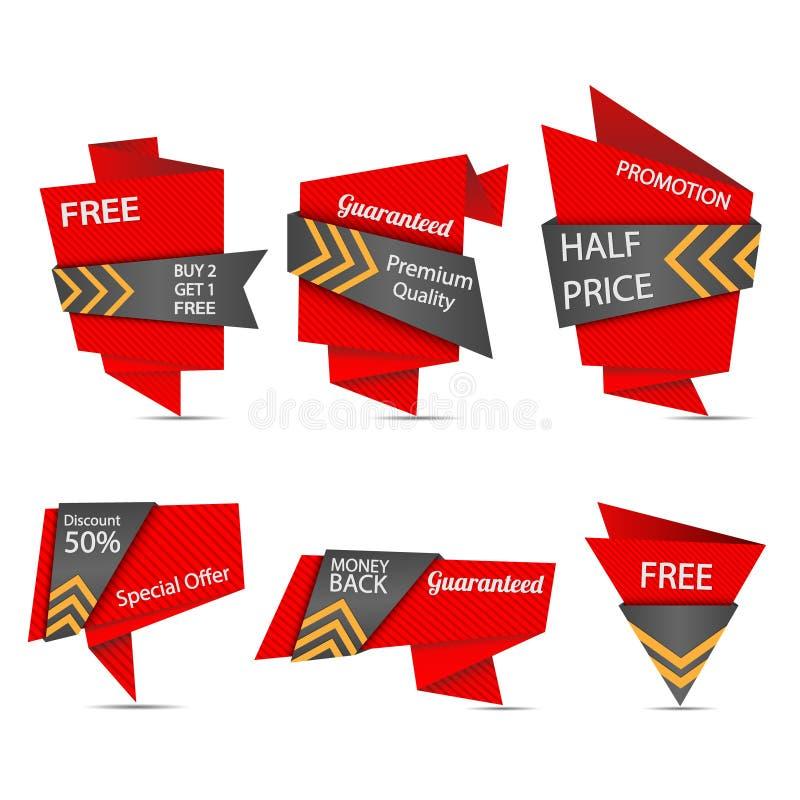 Insieme di etichetta di progettazione di origami illustrazione vettoriale