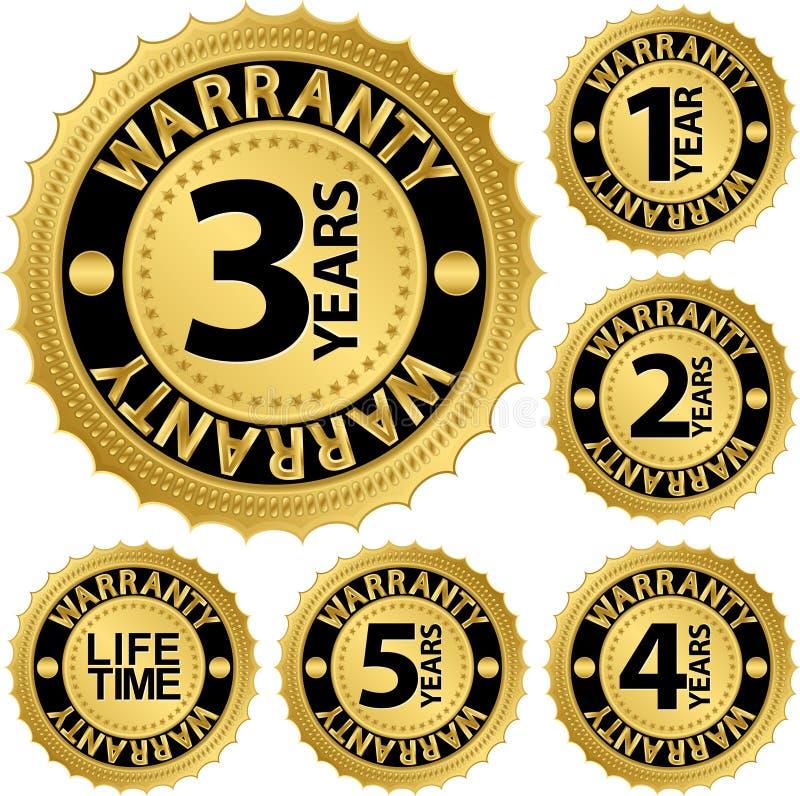 Insieme di etichetta dorato della garanzia illustrazione vettoriale