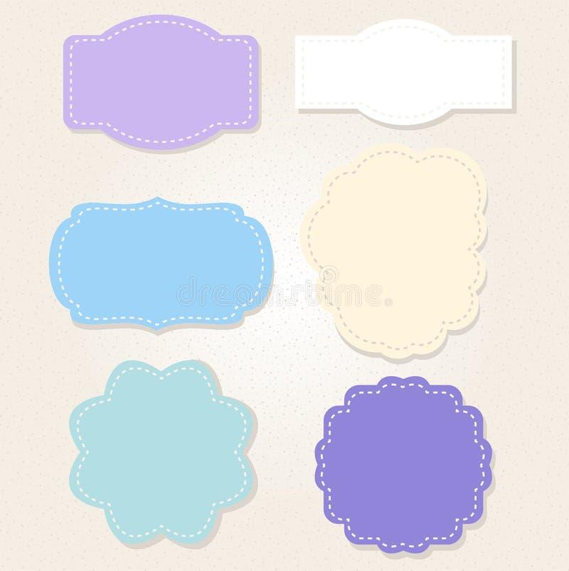 Insieme di etichette blu d'annata dolce royalty illustrazione gratis