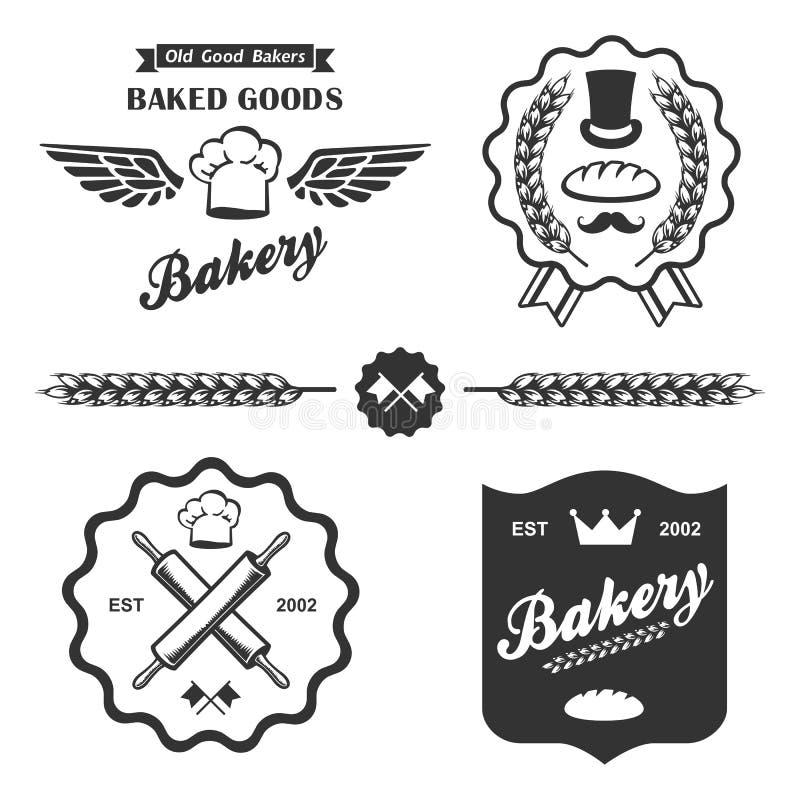 Insieme di etichette d'annata dei distintivi del pane del forno retro illustrazione di stock
