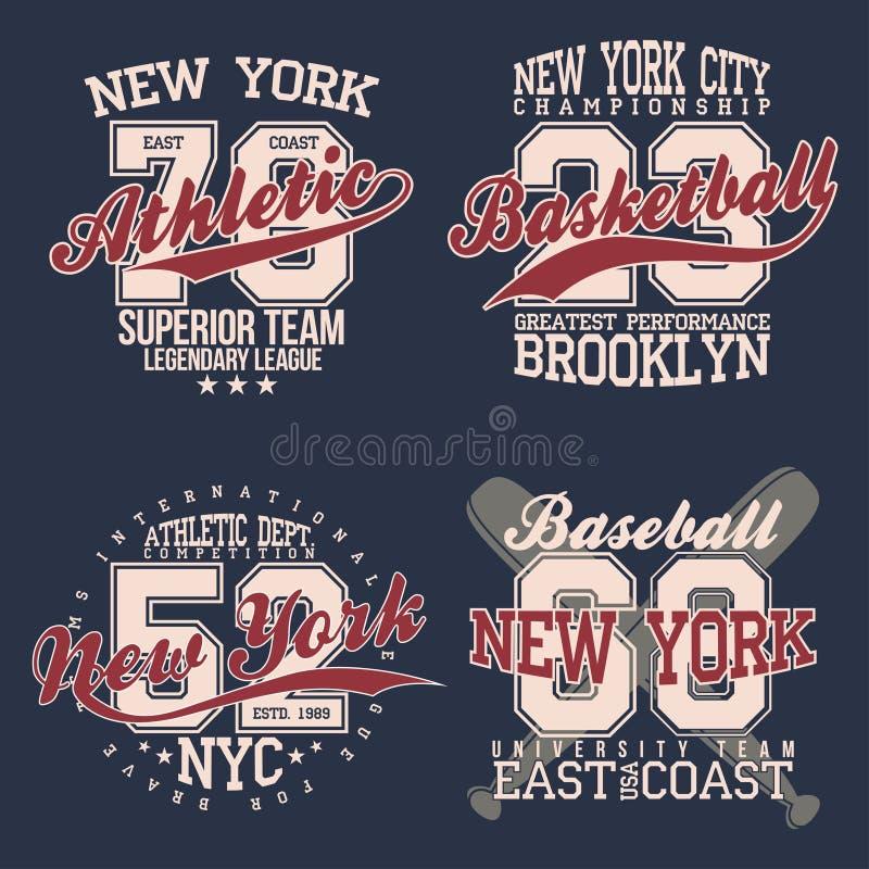 Insieme di etichette d'annata, tipografia di sport atletico per la stampa della maglietta Stile della squadra di college Grafico  illustrazione vettoriale