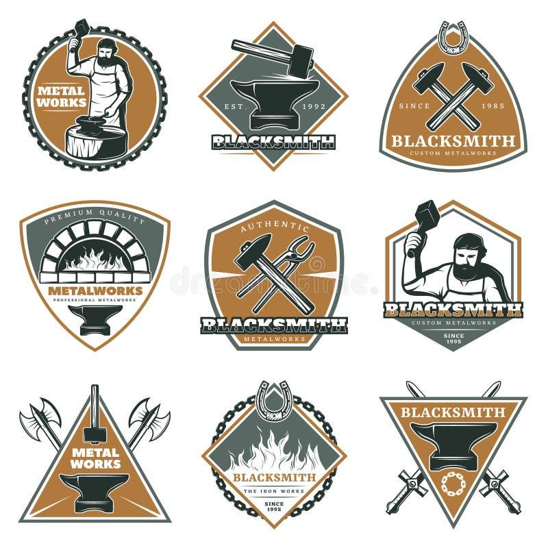 Insieme di etichette d'annata variopinto dei lavori in metallo illustrazione di stock