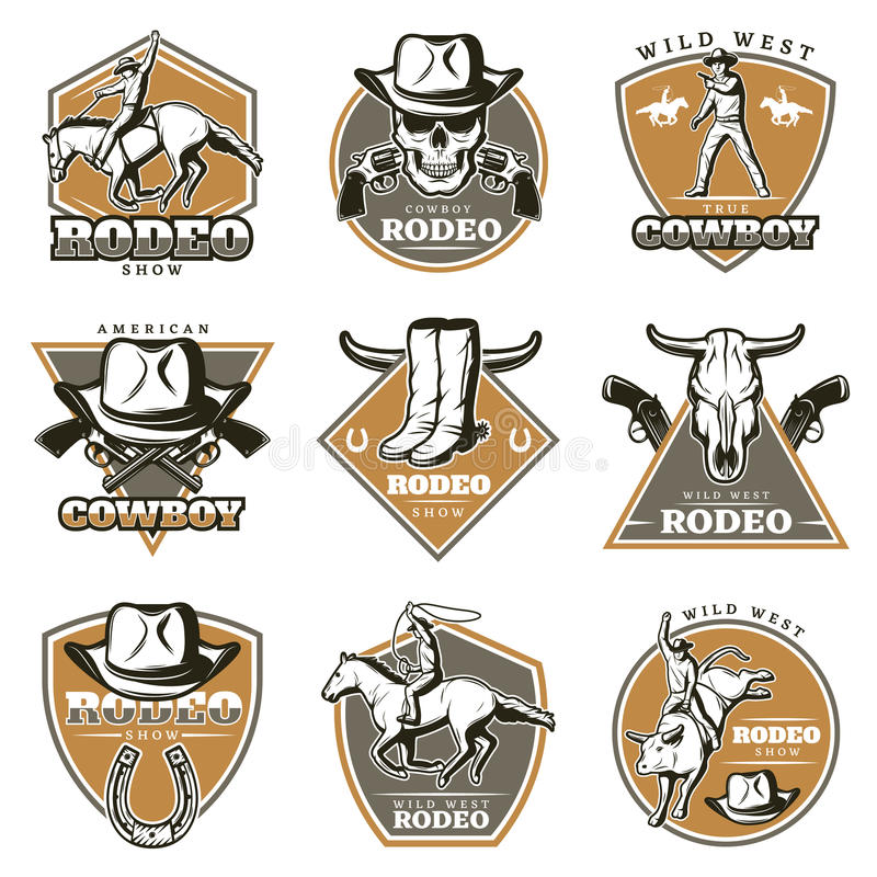 Insieme di etichette d'annata variopinto del rodeo royalty illustrazione gratis