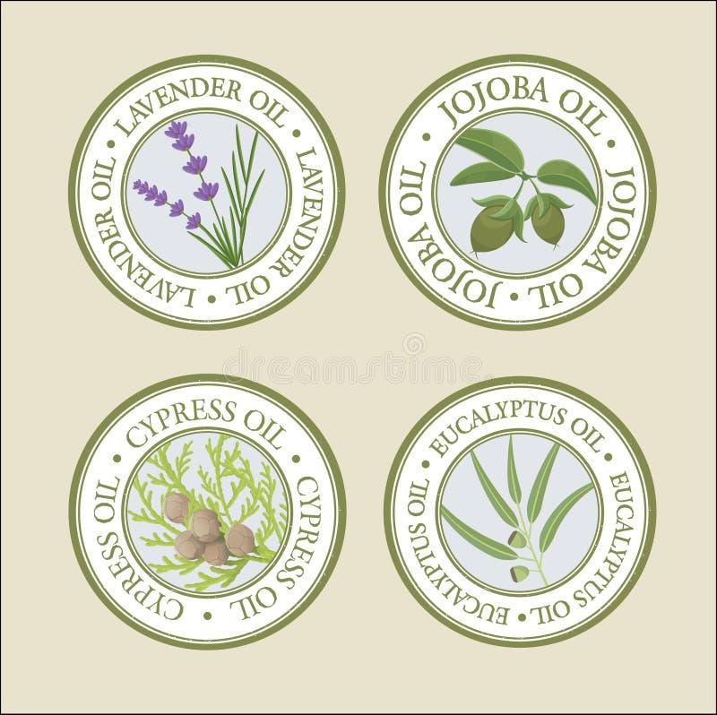 Insieme di etichette dell'olio essenziale royalty illustrazione gratis