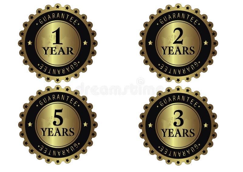 Insieme di etichette di lusso dorato di garanzia illustrazione vettoriale