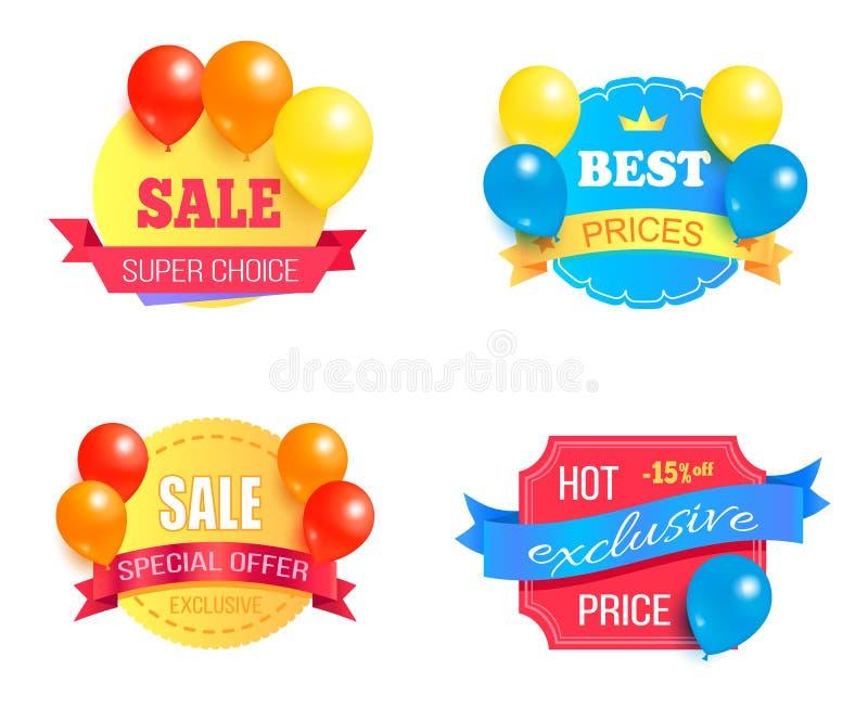 Insieme di etichette esclusivo di promo di prezzi di vendita Choice eccellente illustrazione di stock