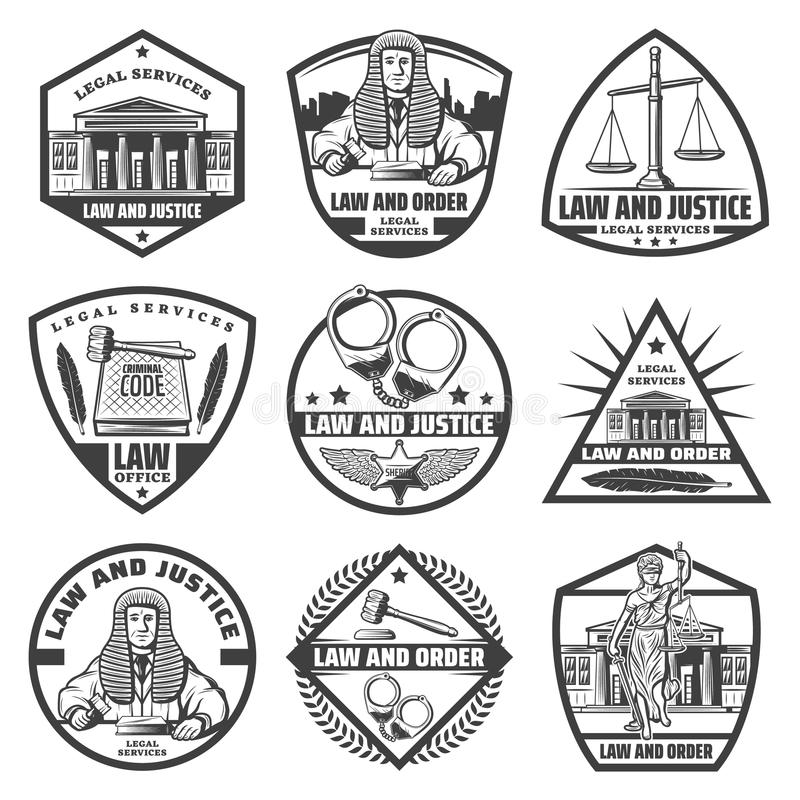 Insieme di etichette monocromatico d'annata del sistema giudiziario illustrazione di stock