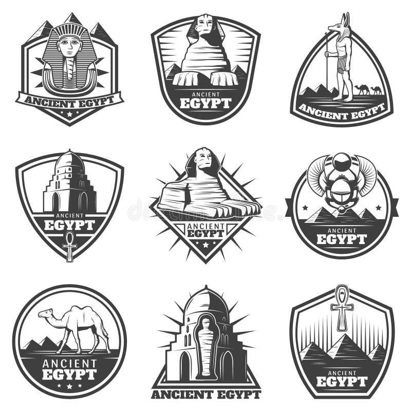Insieme di etichette monocromatico d'annata di egitto antico royalty illustrazione gratis