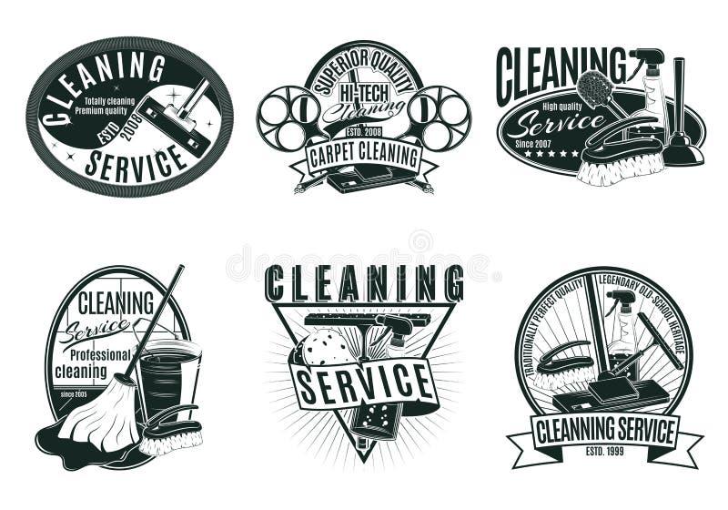 Insieme di etichette professionale d'annata di servizio di pulizia illustrazione vettoriale