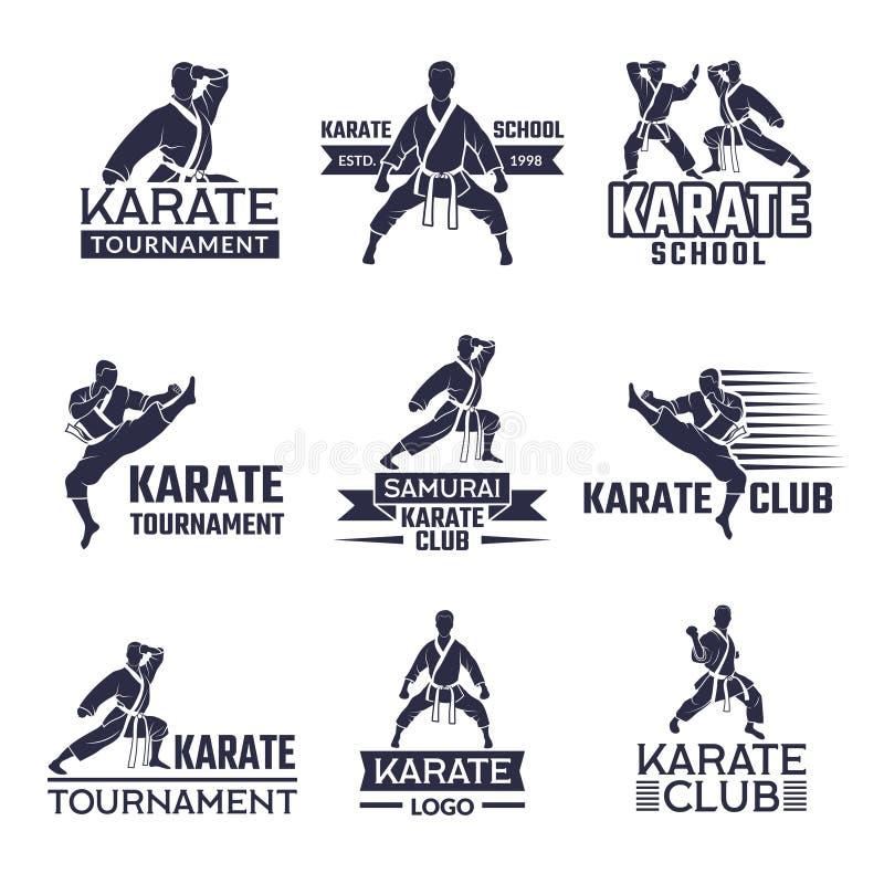 Insieme di etichette di sport per il club combattente Karatè e arti marziali illustrazione vettoriale
