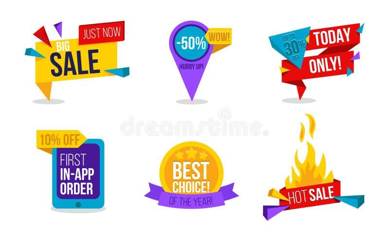 Insieme di etichette di vendita La raccolta variopinta del vettore etichetta per il promo o royalty illustrazione gratis
