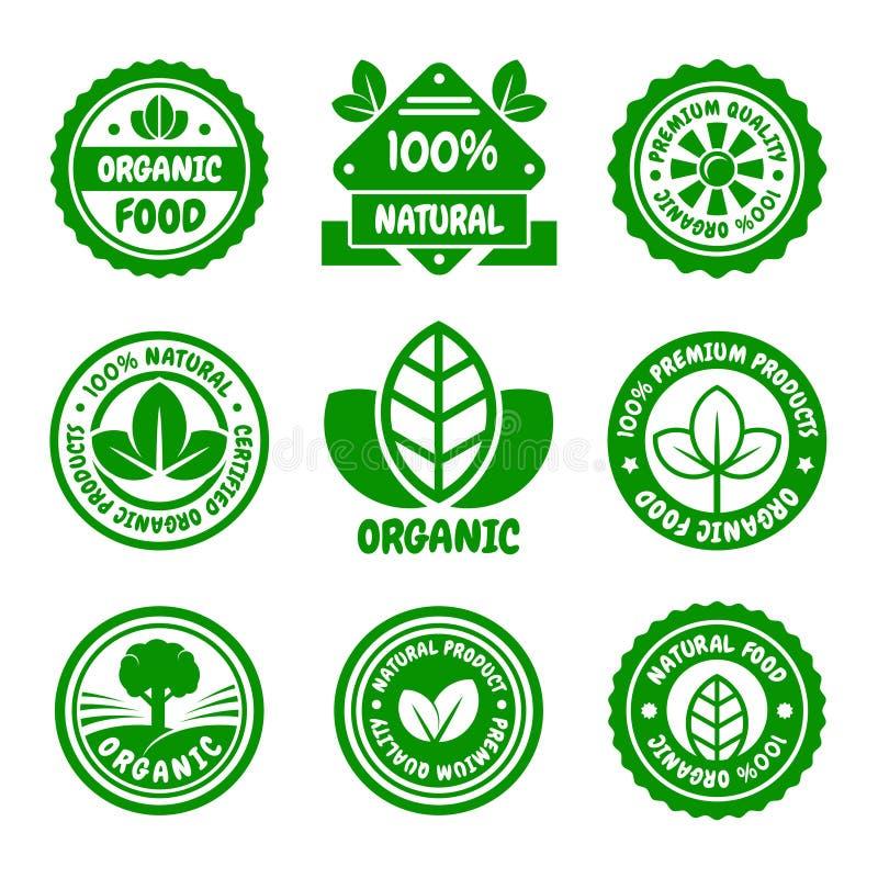 Insieme di etichette verde dell'alimento biologico Vettore royalty illustrazione gratis