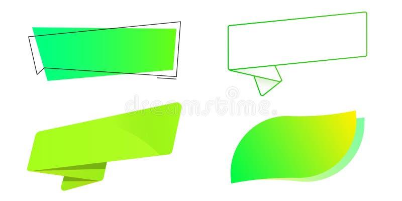 Insieme di etichette verde Modello per i bio- prodotti, le vendite, i siti Web e le etichette Nastro, foglia, pop-up, autoadesivo illustrazione vettoriale