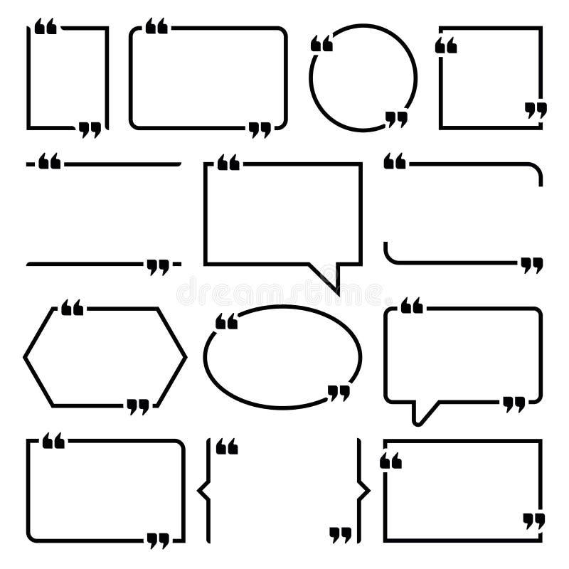 Insieme di etichette di vettore per le citazioni del testo illustrazione di stock