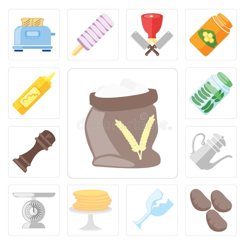 Insieme di farina, patate, vetro, pancake, scala, teiera, pepe, illustrazione di stock