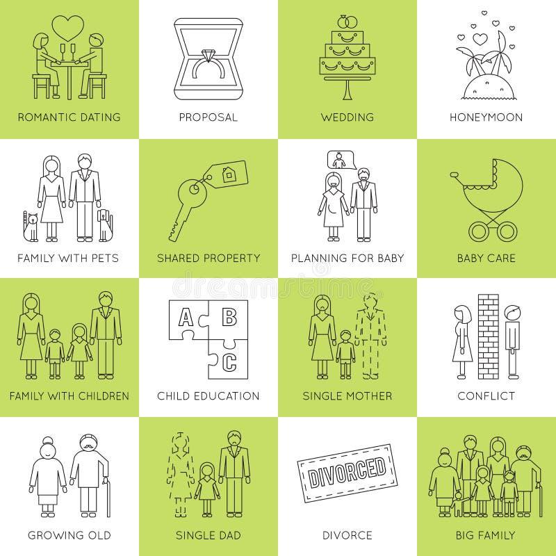 Insieme di fasi della famiglia royalty illustrazione gratis