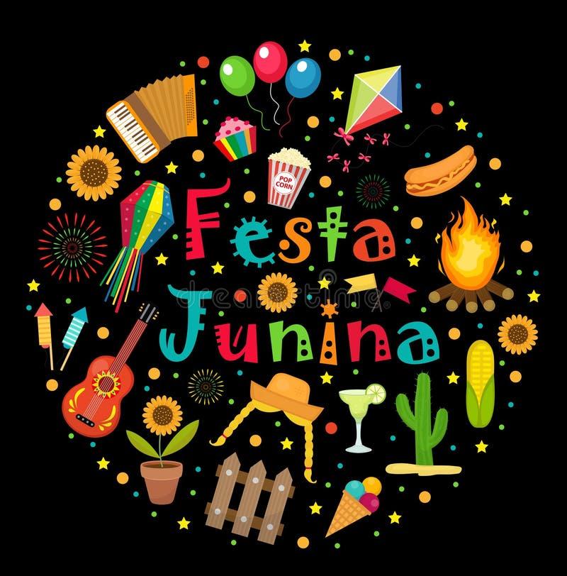 Insieme di Festa Junina delle icone in una forma rotonda Raccolta dell'America latina brasiliana di festival degli elementi di pr illustrazione vettoriale