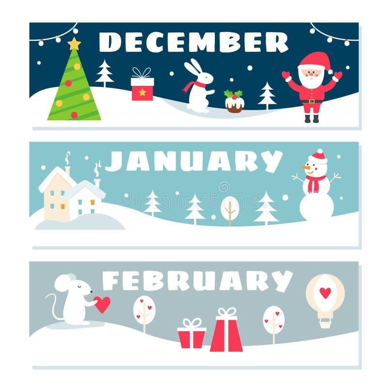 Insieme di Flashcards del calendario di periodi invernali illustrazione di stock