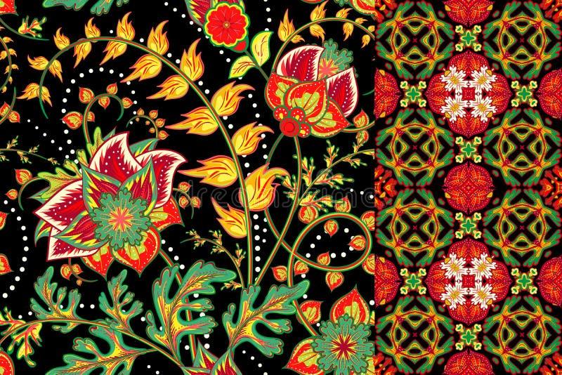 Insieme di fondo e del confine senza cuciture floreali con i fiori di fantasia, il fiore ed il permesso Insieme ornamentale del m illustrazione di stock
