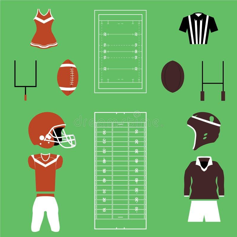 Insieme di football americano ed icone e vettori di rugby royalty illustrazione gratis