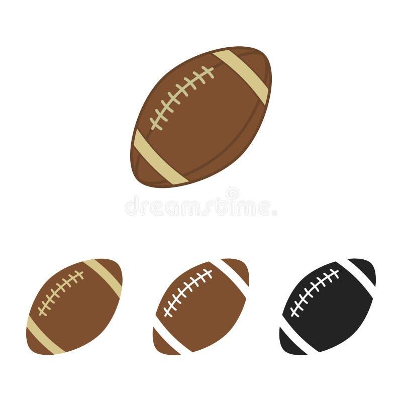 Insieme di football americano Palla di sport per football americano Siluette di vettore delle palle di rugby Icone di vettore iso illustrazione di stock