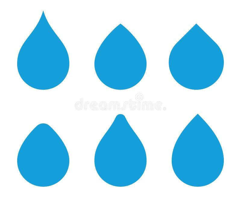 Insieme di forma di vettore della goccia di acqua Icone di Waterdrop Modelli delle goccioline dell'acqua per il logo illustrazione di stock