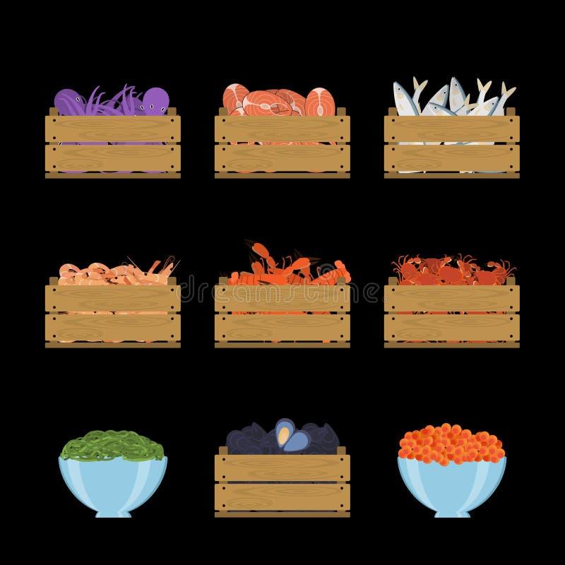 Insieme di frutti di mare in casse illustrazione di stock