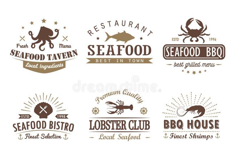 Insieme di frutti di mare d'annata, barbecue, modelli di logo illustrazione vettoriale