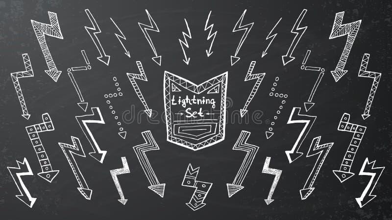Download Insieme Di Fulmine Disegnato A Mano Su Fondo Nero Illustrazione Vettoriale - Illustrazione di penciling, potenza: 56875665