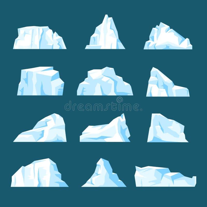 Insieme di galleggiamento dell'iceberg del fumetto isolato da fondo illustrazione di stock