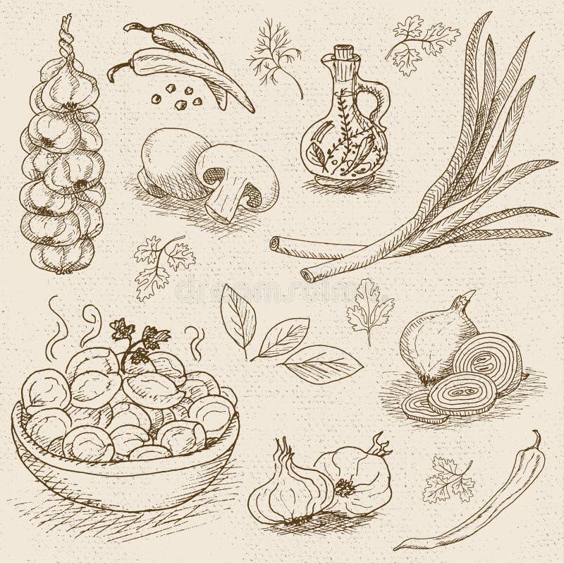 Insieme di gesso attinto un alimento della lavagna, spezie illustrazione di stock