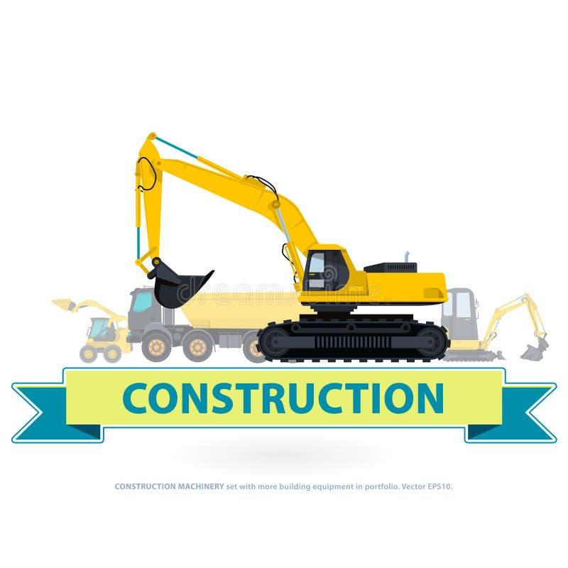 Insieme di giallo del macchinario di costruzione La terra funziona con il segno Veicoli a macchina illustrazione di stock