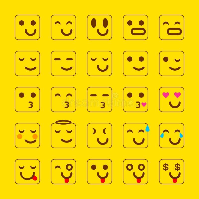 Insieme di giallo di vettore delle icone di sorriso Emoji gli emoticon affrontano, allegro, illustrazione di vettore illustrazione vettoriale