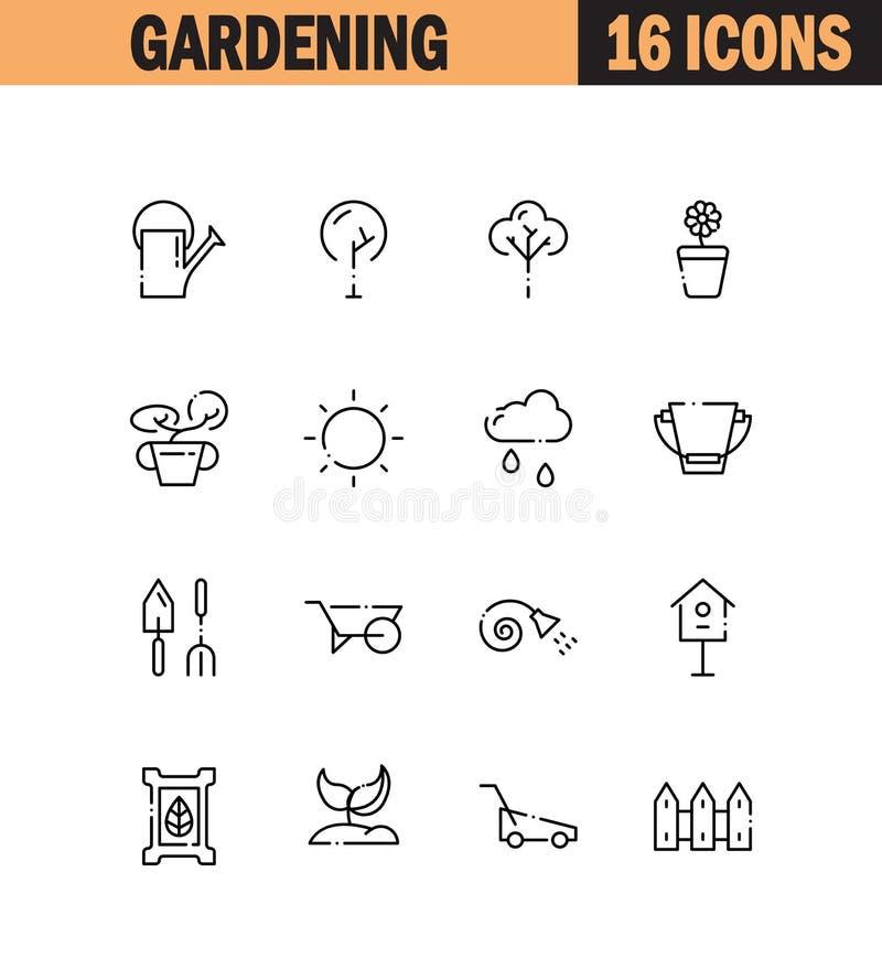 Insieme di giardinaggio dell'icona illustrazione di stock