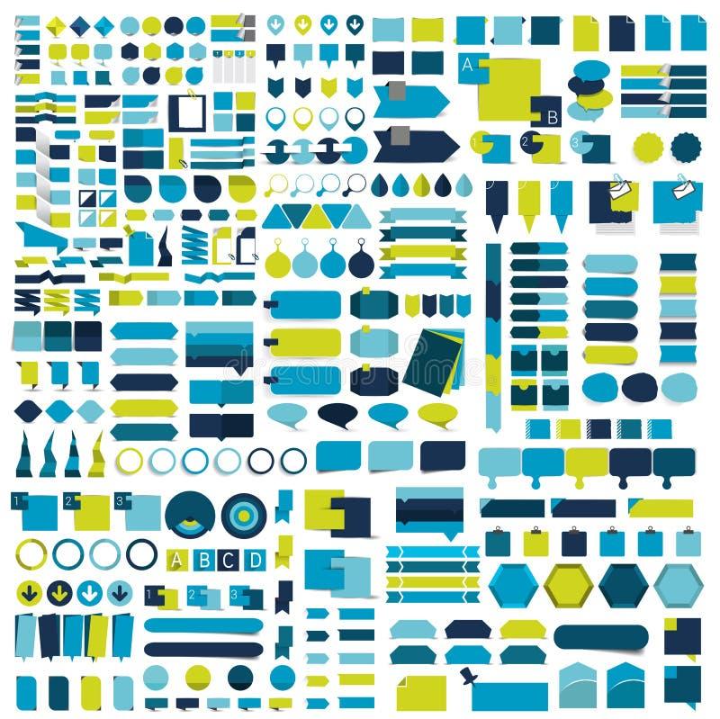 Insieme di Giga degli elementi piani di progettazione di infographics, schemi, grafici, bottoni, fumetti, autoadesivi illustrazione di stock