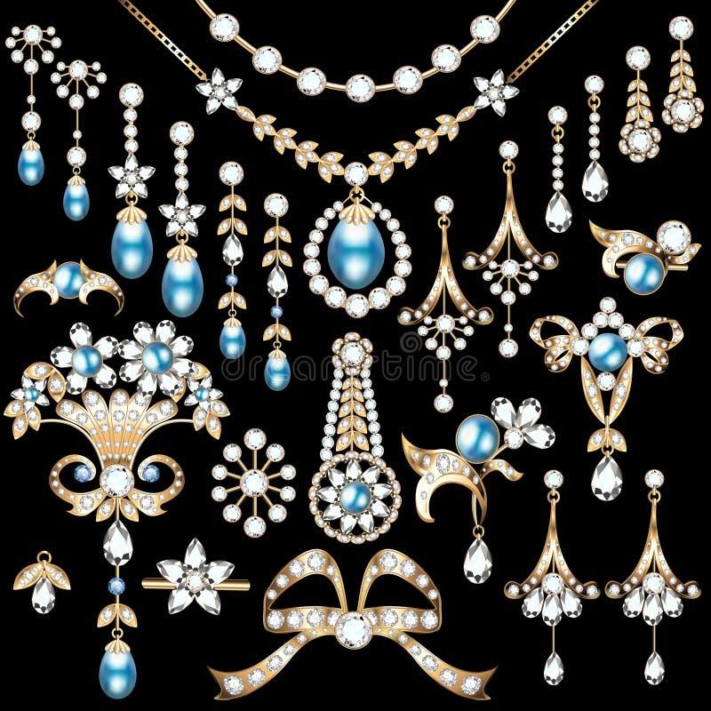 insieme di gioielli fatto del bro delle pietre preziose e dell'oro illustrazione vettoriale