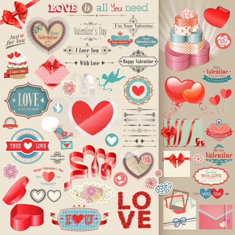 Insieme di giorno del ` s del biglietto di S. Valentino. illustrazione vettoriale