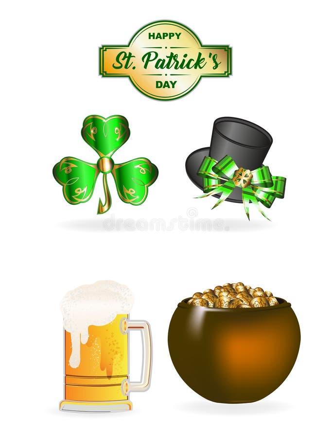 Insieme di giorno del ` s di St Patrick royalty illustrazione gratis