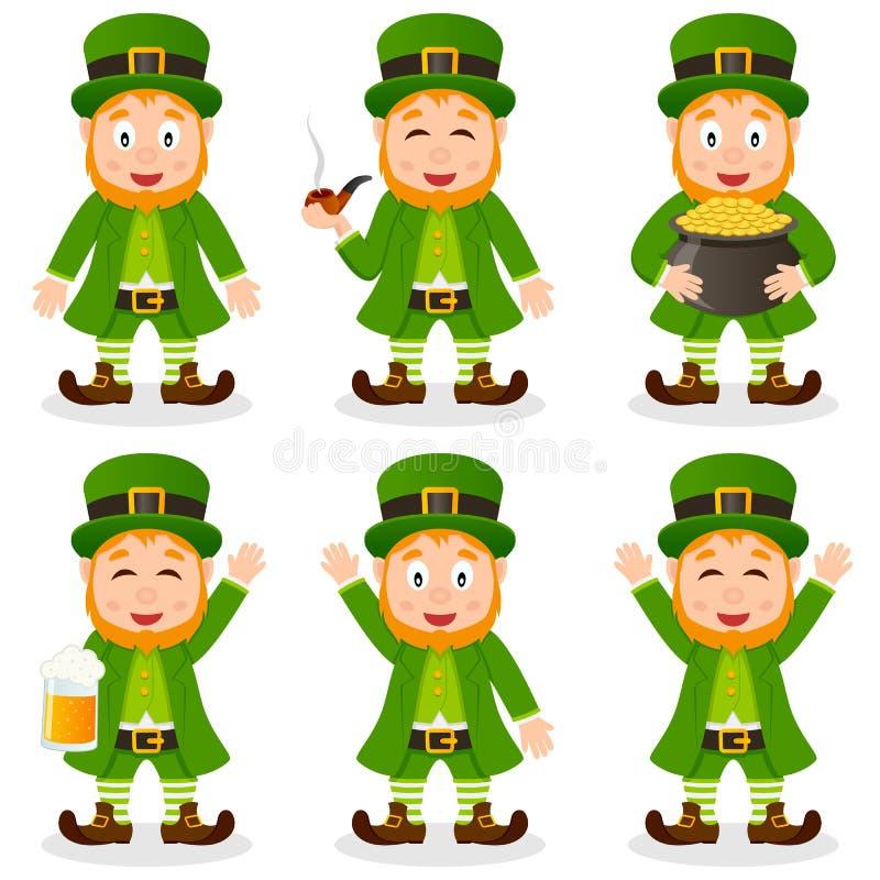 Insieme di giorno di St Patrick s del leprechaun del fumetto illustrazione vettoriale
