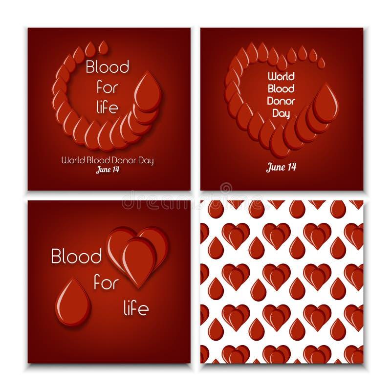 Insieme di giorno di donazione di sangue del mondo dei modelli del manifesto e del modello senza cuciture con le gocce ed il cuor illustrazione vettoriale