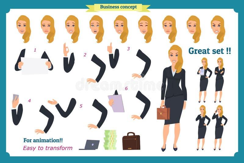 Insieme di giovane donna di affari che presenta nelle pose differenti Carattere della gente standing Isolato su bianco Stile pian illustrazione vettoriale