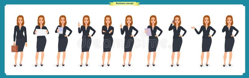 Insieme di giovane donna di affari che presenta nelle pose differenti Carattere della gente standing Isolato su bianco Stile pian illustrazione di stock
