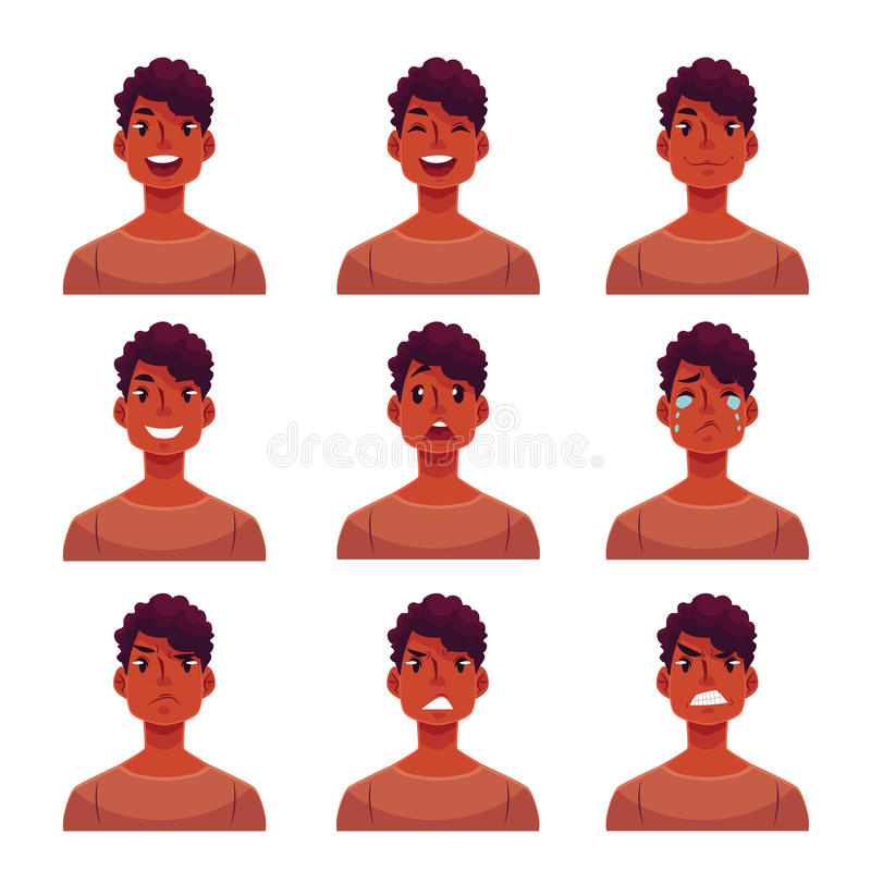 Insieme di giovani avatar africani di espressione del fronte dell'uomo illustrazione di stock