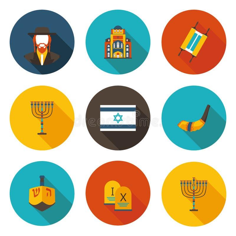 Insieme di giudaismo piano delle icone illustrazione di stock