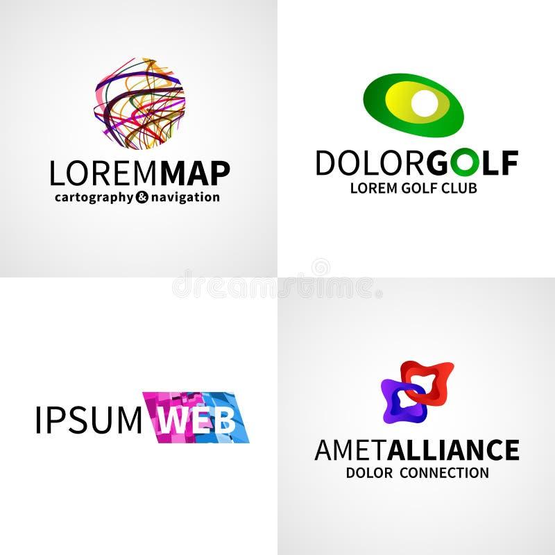 Insieme di golf astratto variopinto moderno di alleanza di web illustrazione di stock