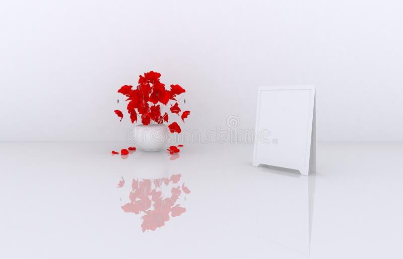 insieme di grande 3d dei telai di vendite con i fiori, scatole bianche da vendere (merci, accessori, roba, ecc ) 6 3d rendono illustrazione vettoriale