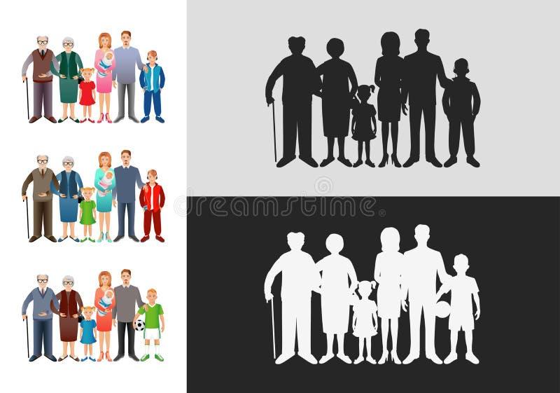 Insieme di grandi famiglie felici Padre, madre, figlio, figlia, grandf royalty illustrazione gratis