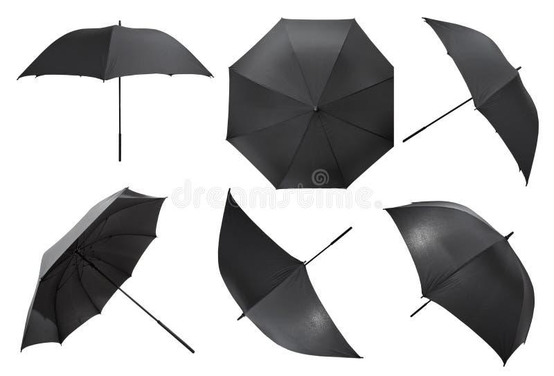 Insieme di grandi ombrelli neri aperti fotografie stock
