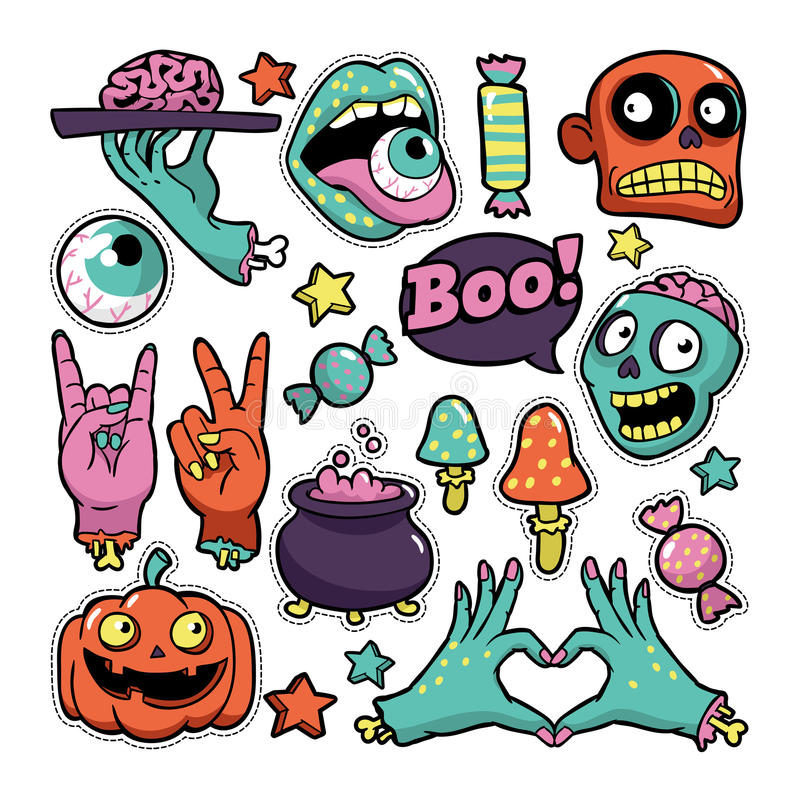 Insieme di Halloween delle toppe nello stile comico del fumetto illustrazione di stock