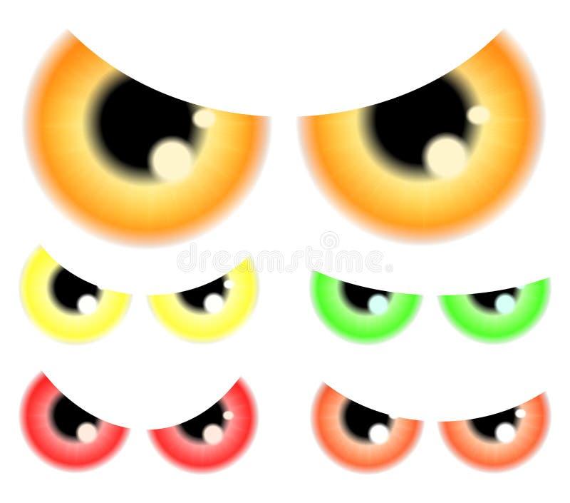 Insieme di Halloween felice spettrale, occhi spaventosi, bulbi oculari, iride, pupilla Illustrazione di vettore isolata su priori royalty illustrazione gratis